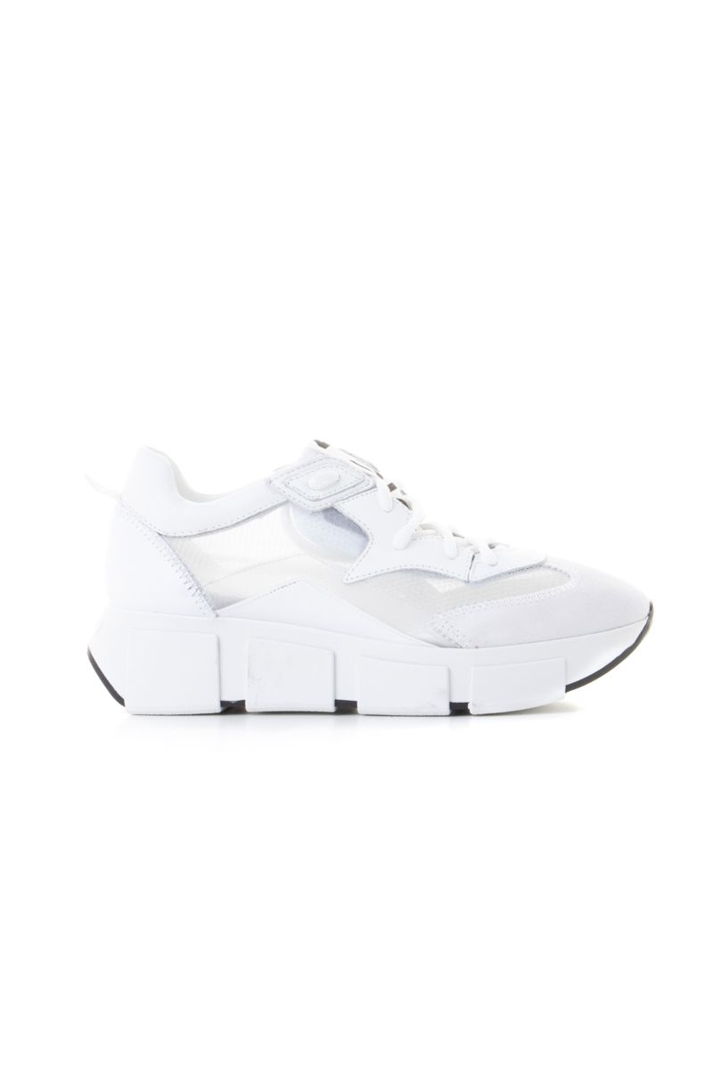 White running shoes with see-through upper