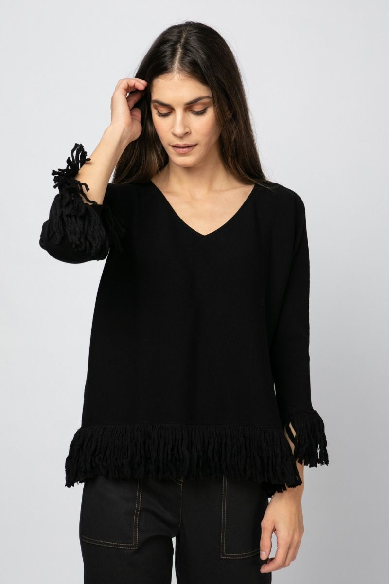 Fringed Knit black sweater