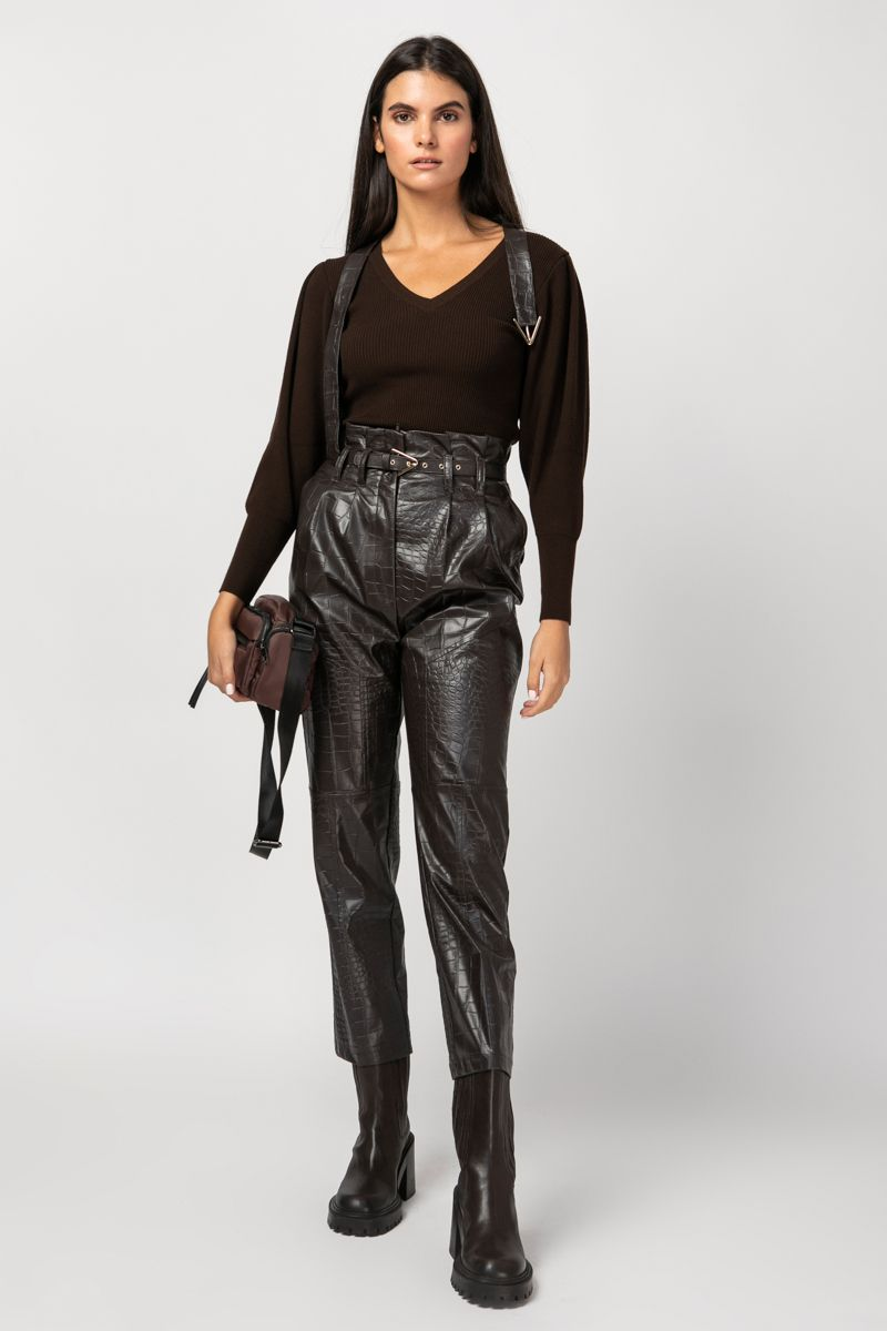 High-waist vegan leather pants
