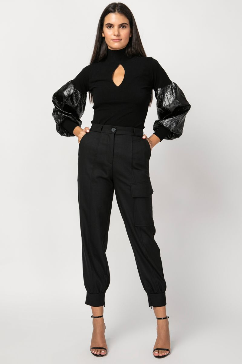 Black blouse with vegan-leather sleeves