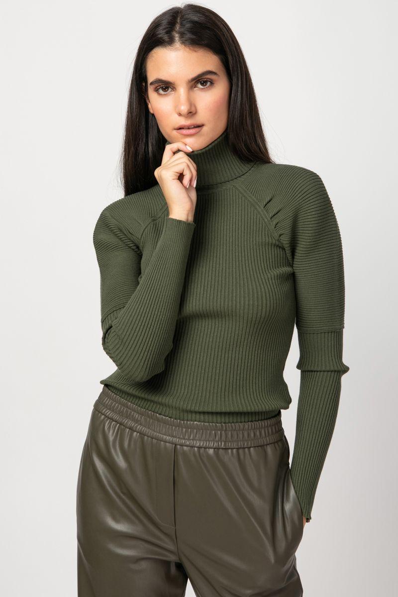 Cutout ribbed knit blouse
