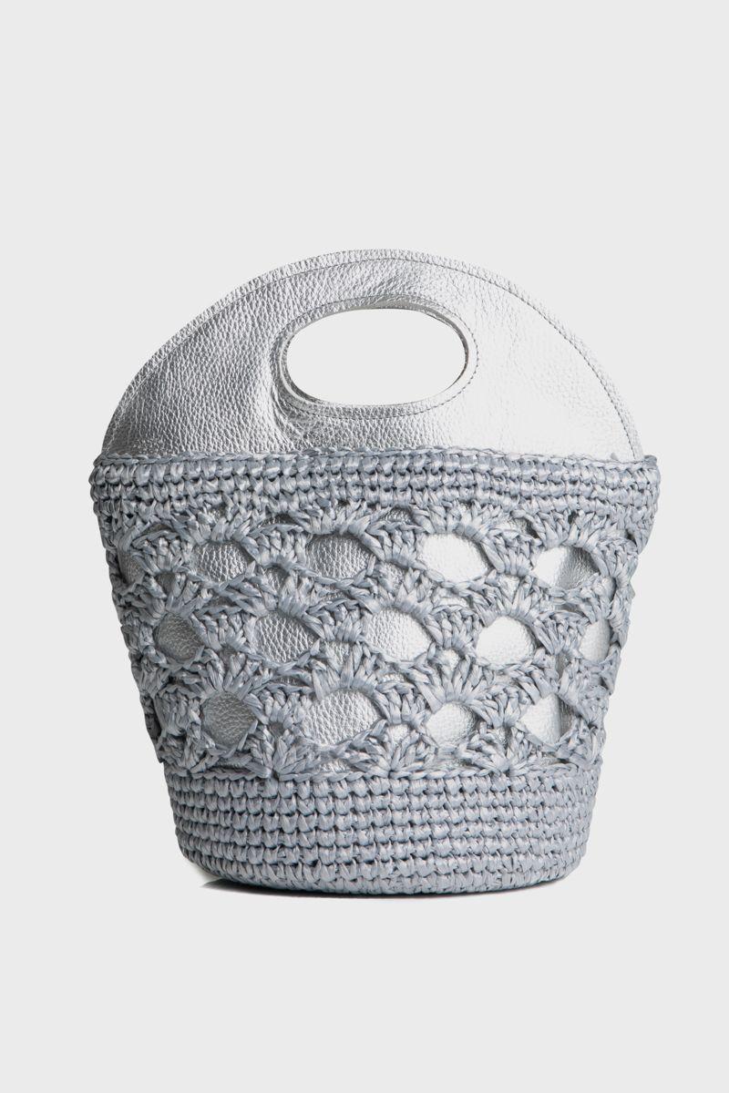 Metallic leather basket with woven raffia details
