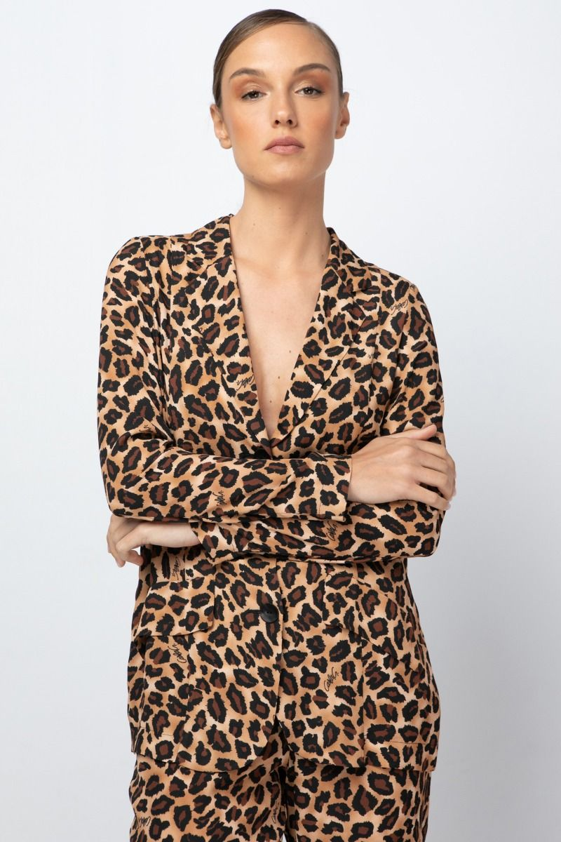Single- breasted jacket with animal print