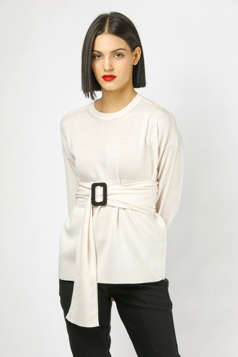 Off-white knit blouse