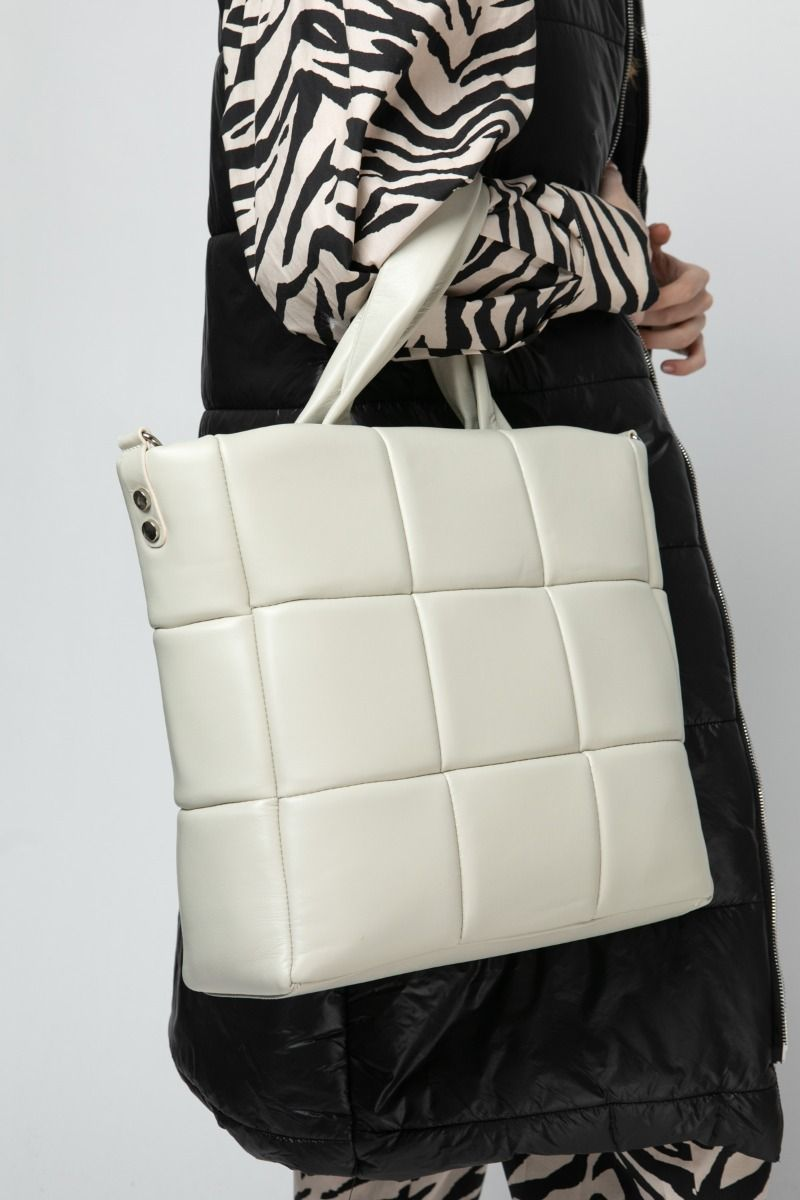 Ivory quilted tote bag