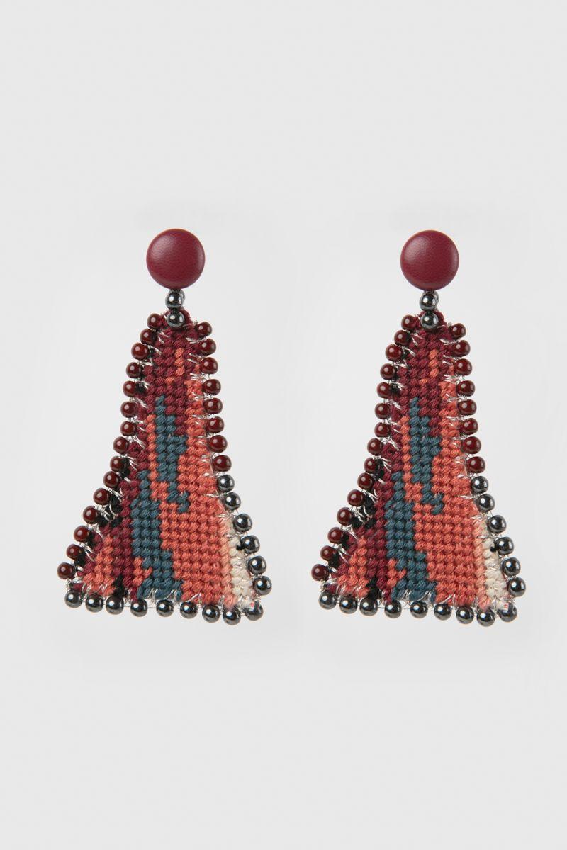 Handmade embroidered earrings