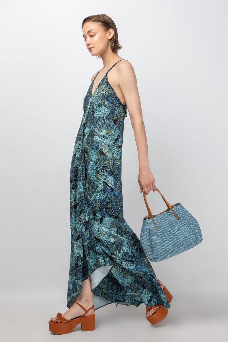 Maxi halterneck  printed dress