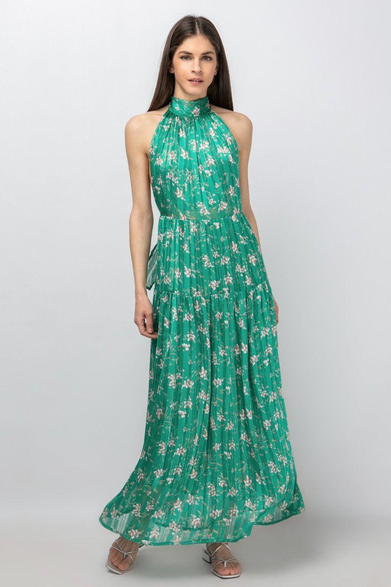 Printed halterneck maxi dress