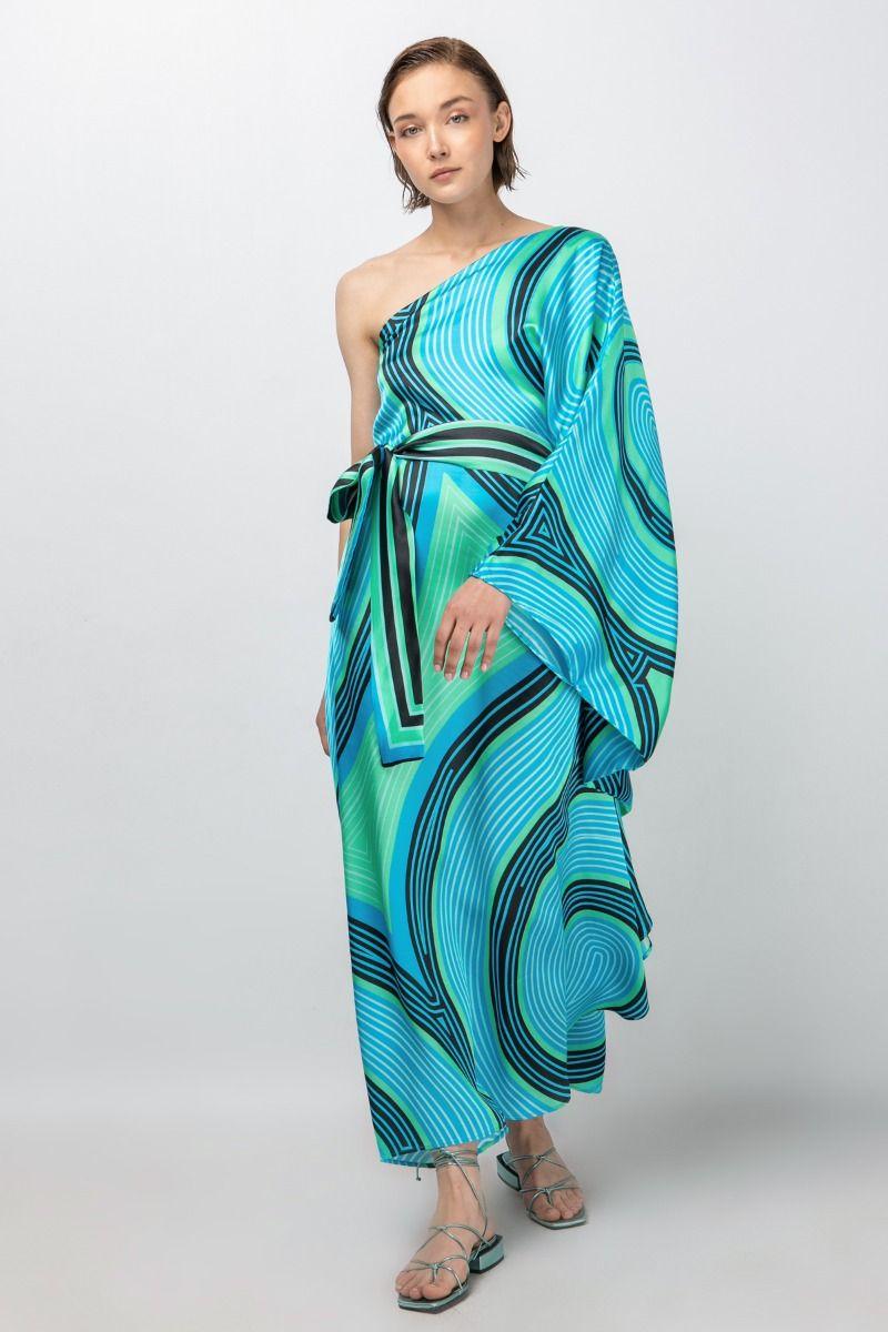 One-shoulder printed maxi dress-kaftan