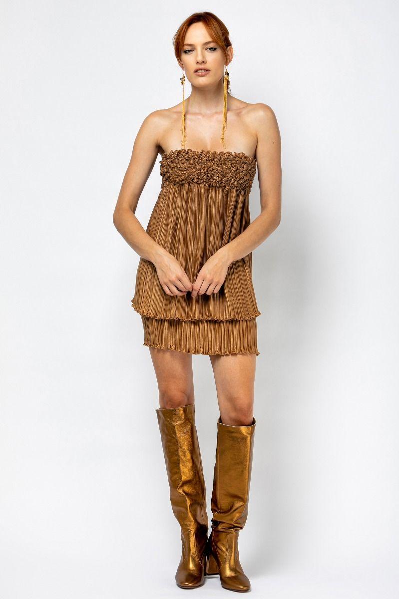 Mini pleated golden dress