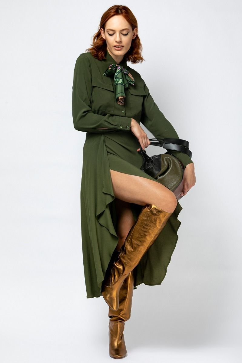 Midi dress in khaki