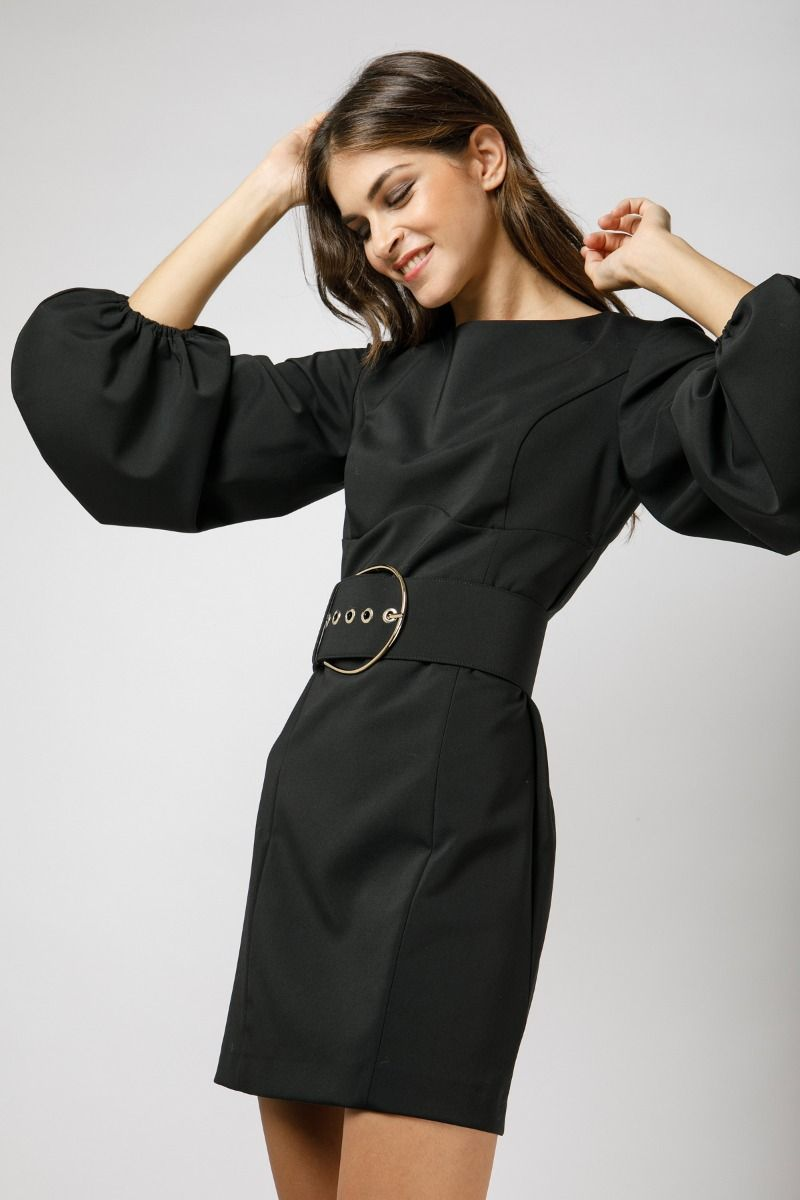 Mini black dress with puff sleeves