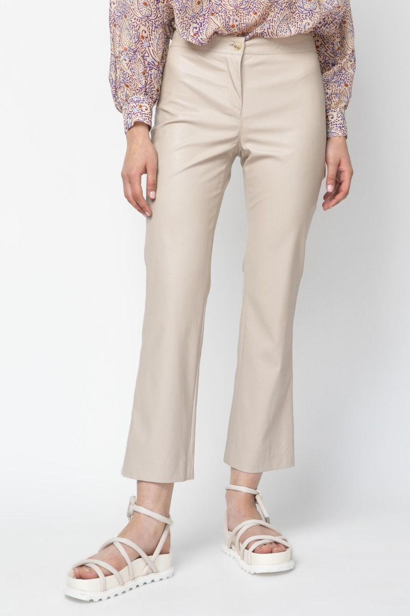 Straight-leg vegan leather pants