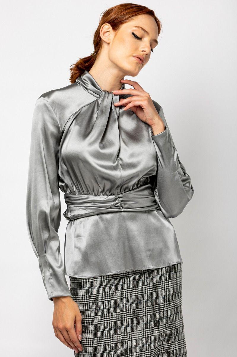 Silk satin  blouse in silver grey