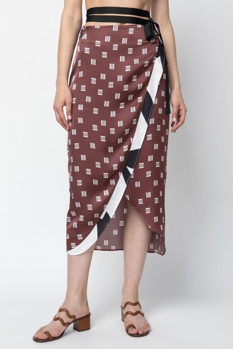 Wrap silk printed skirt