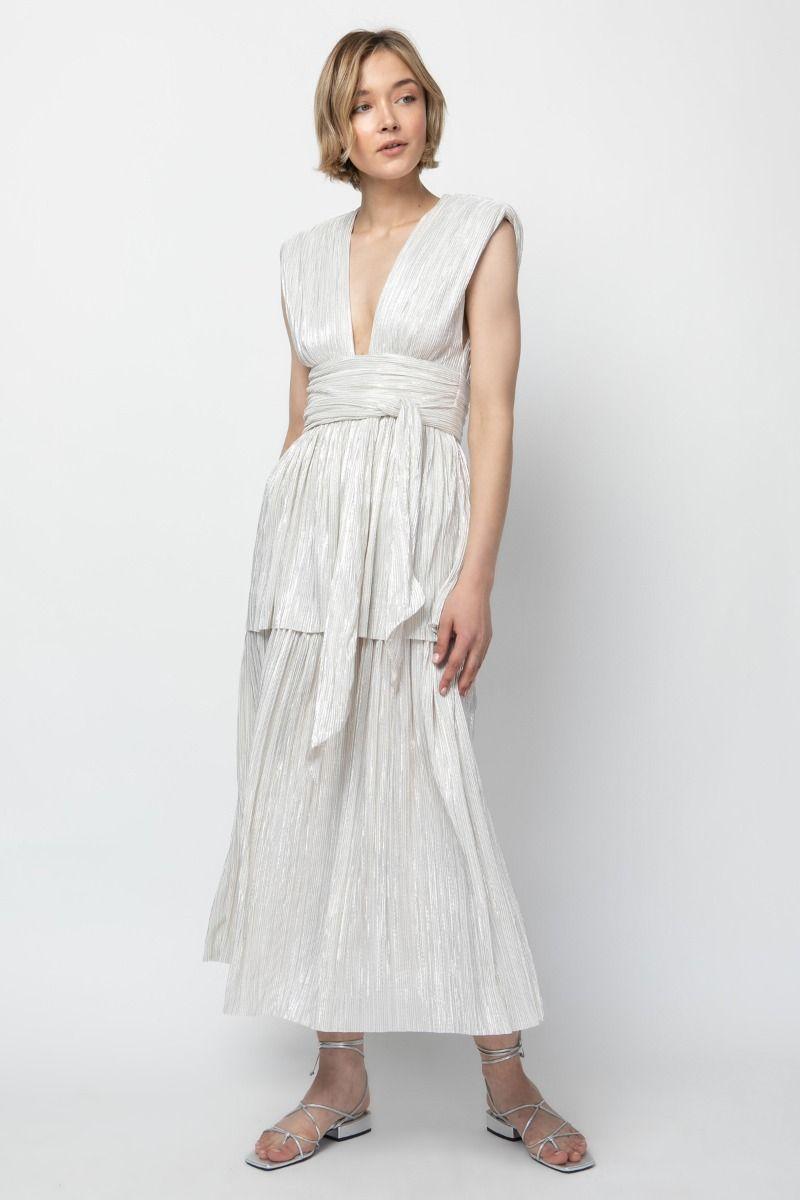 Lurex knit gathering midi dress with open back