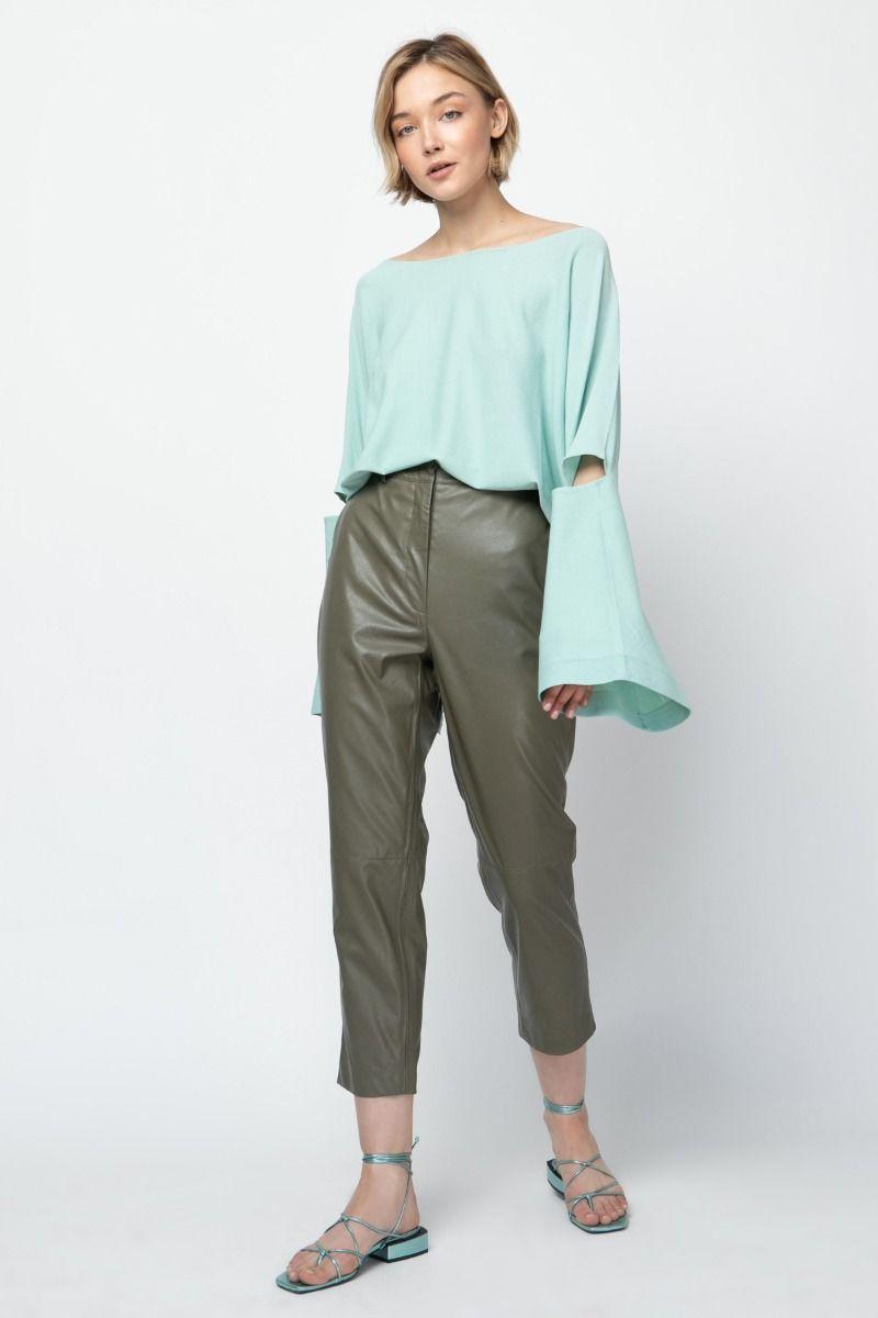 High -waist vegan leather pants