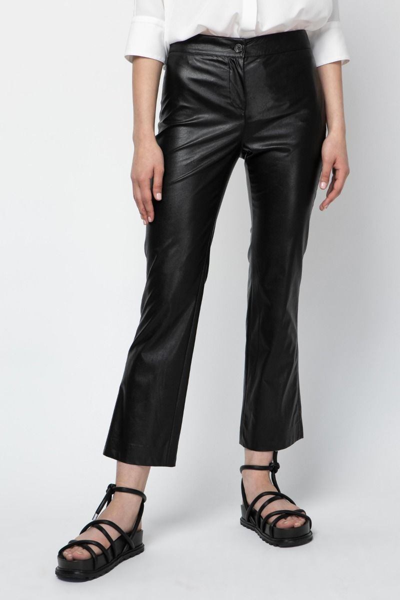 Cropped straight-leg  pants from vegan leather