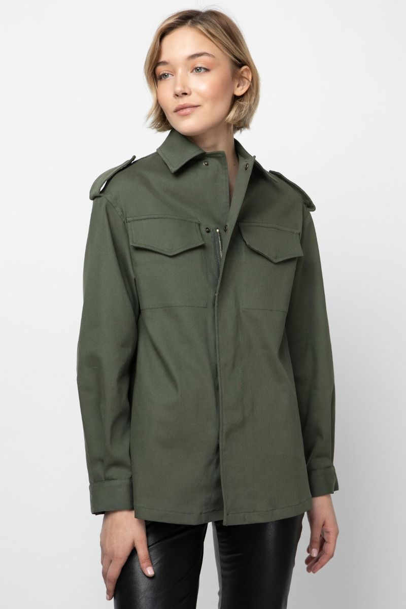 Shirt -jacket in army-green color