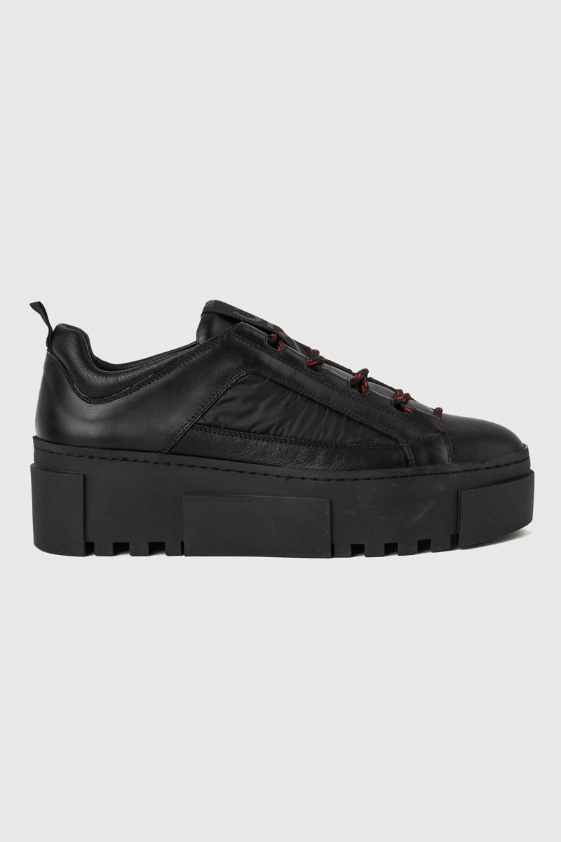 Black calfskin and nylon trainers