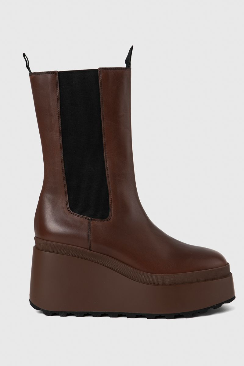 Calfskin beatle boots with wedge