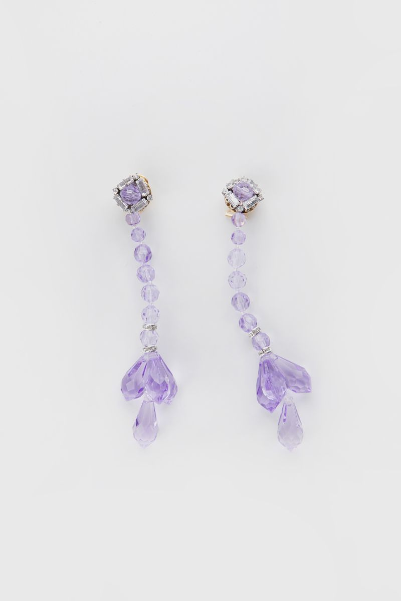 Earrings with plexiglass beads and drops