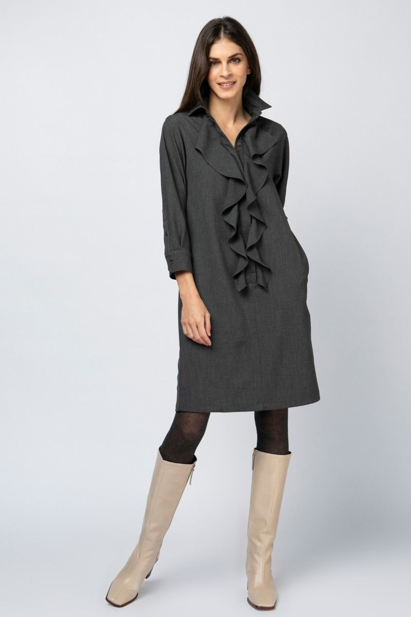 Shirt dress in gray color