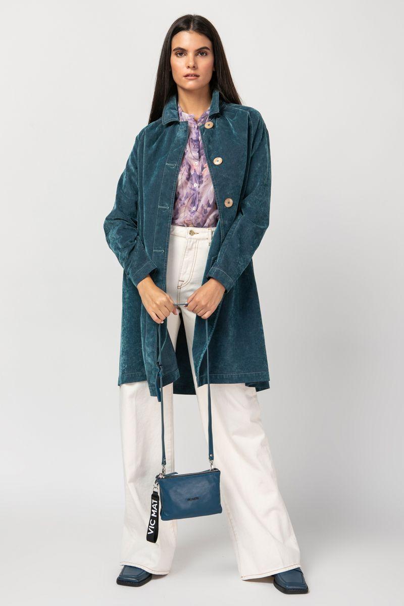 Velvet denim trench coat