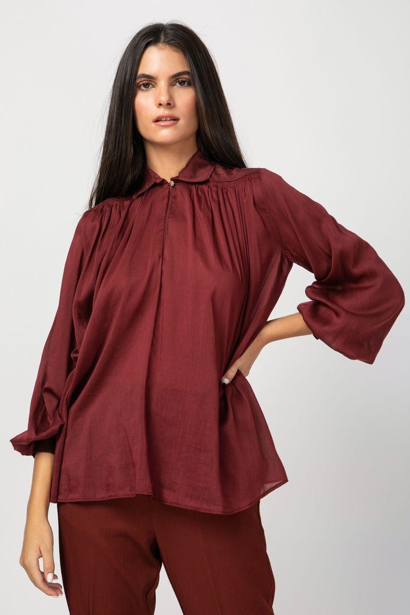 Bohemian shirt in bordeaux hue