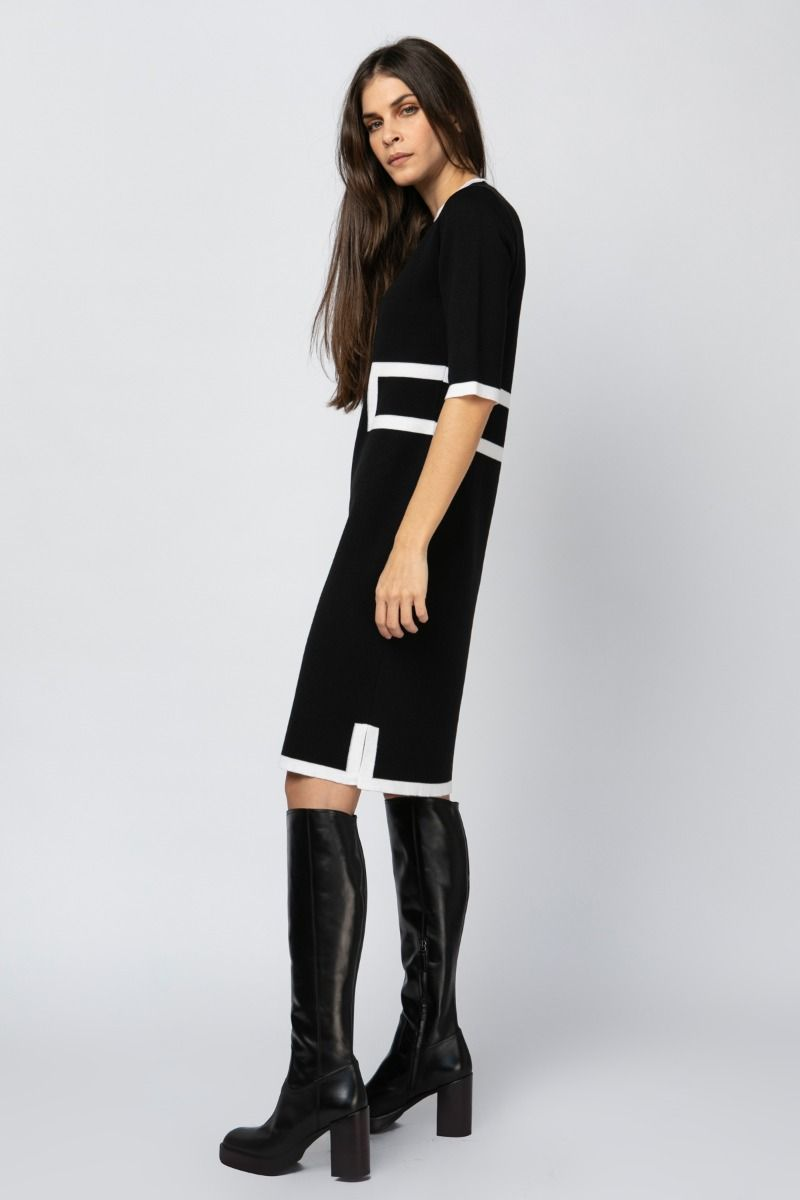 Knit black and white dress