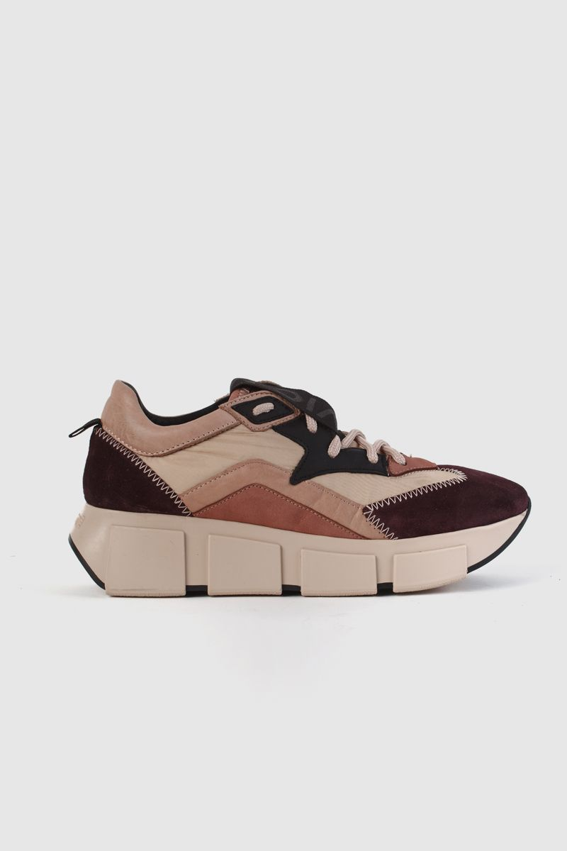 Leather and fabric running trainers