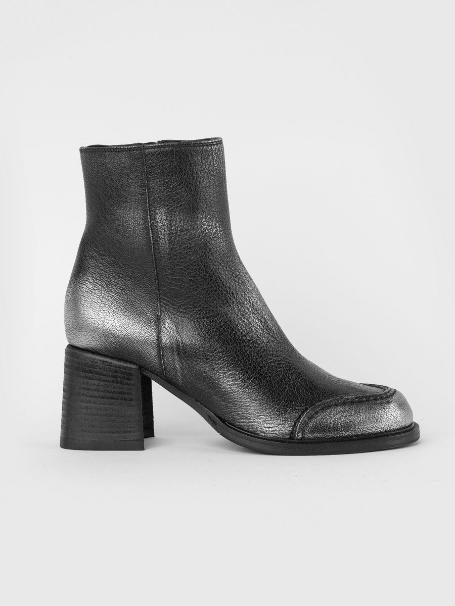 Steel- grey laminated leather ankle boots