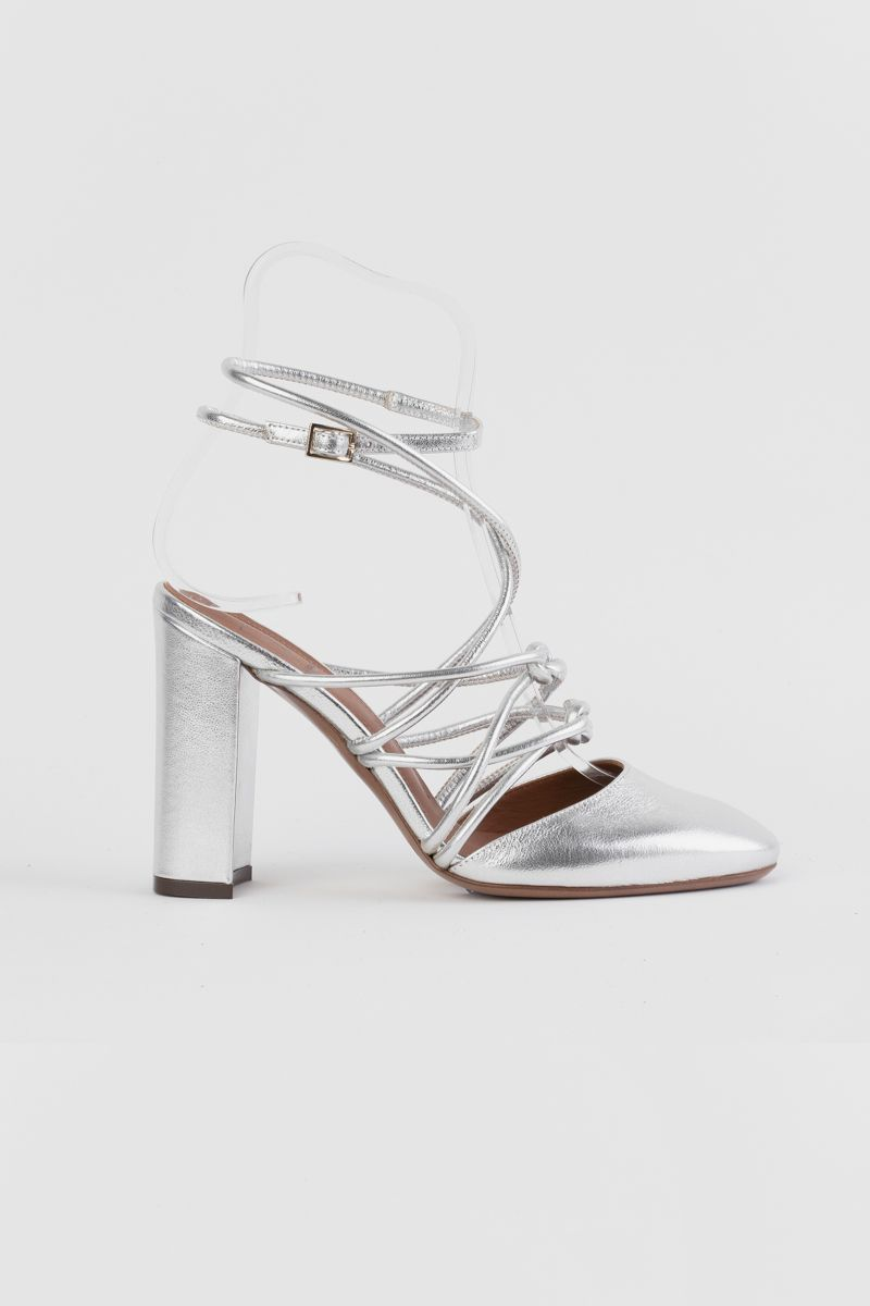 Silver -lame leather court shoes
