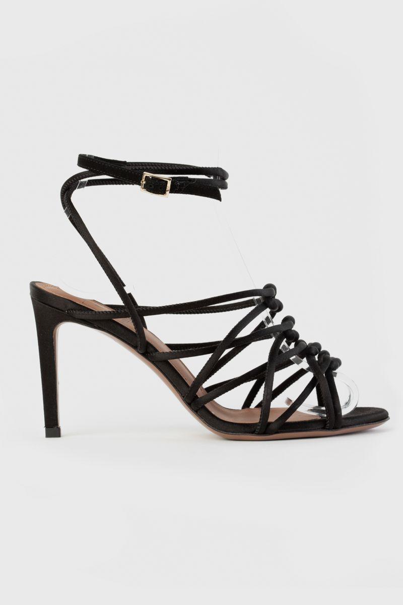 Black satin woven sandals