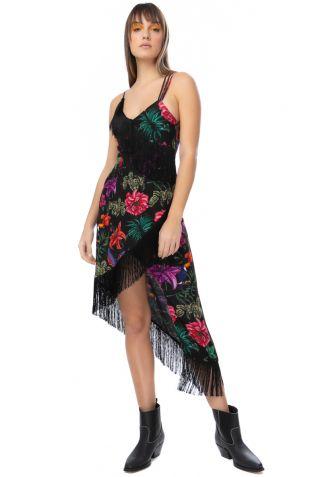 Ασύμμετρο φλοράλ φόρεμα με κρόσσια