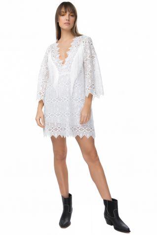 Μίνι λευκό φόρεμα με δαντέλα