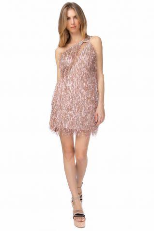 Μίνι φόρεμα με λούρεξ κρόσσια και έναν ώμο
