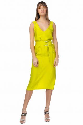 Μίντι φόρεμα σε έντονο λάιμ χρώμα