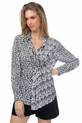 Μεταξωτό πουκάμισο με άσπρα και μαύρα prints