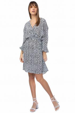 Μεταξωτό φόρεμα με ασπρόμαυρα prints