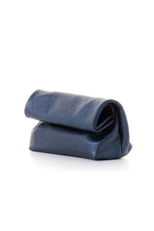 """Μικρό """"lunch"""" clutch σε μεταλλικό μπλε δέρμα"""