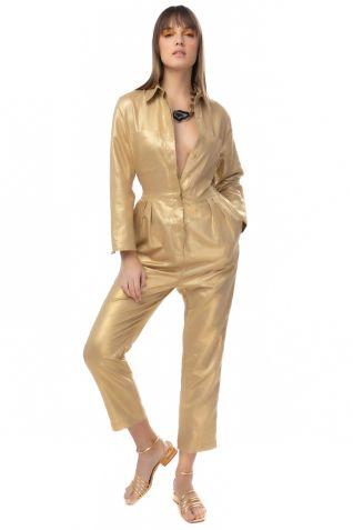 Χρυσή λινή ολόσωμη φόρμα