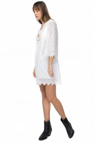 Mini lace dress with fringes