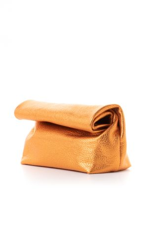 """Small shimmering orange leather """"lunch"""" clutch"""