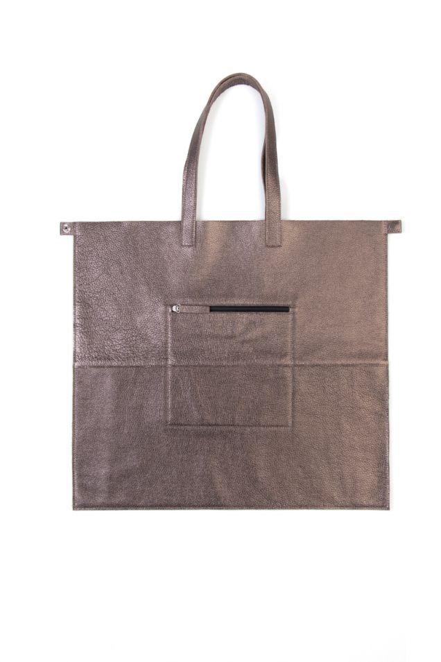 Μεγάλη shopper τσάντα από μεταλιζέ δέρμα