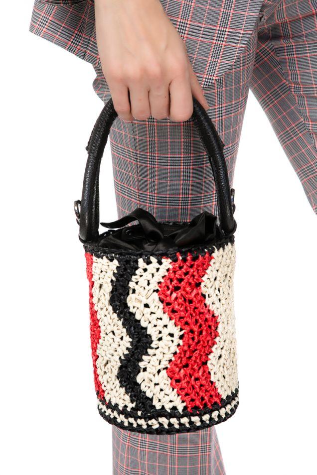 Ψάθινη κυλινδρική τσάντα