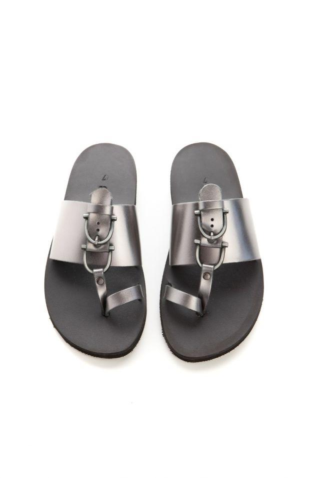 Flat silver sandals