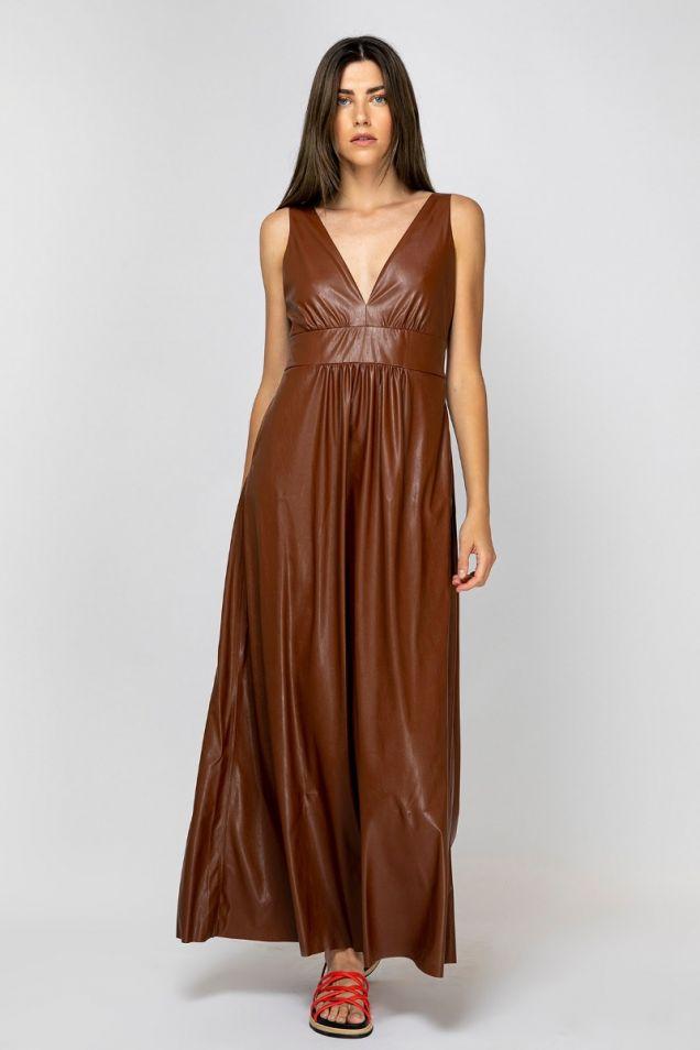 Μάξι φόρεμα από συνθετικό δέρμα