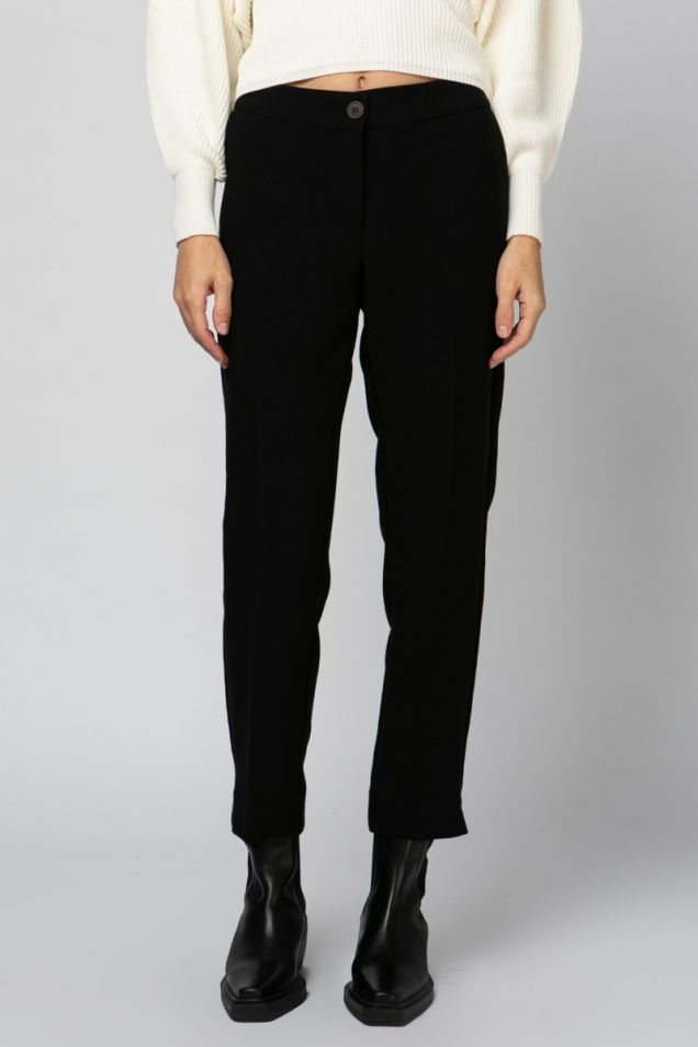 Straight -leg black trousers