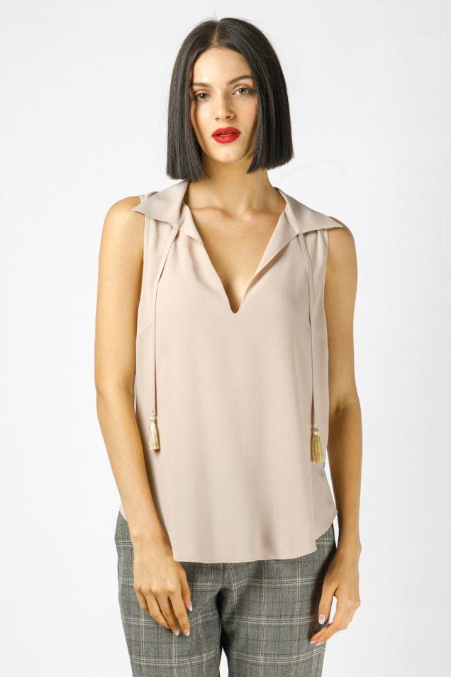 sleeveless shirt in crepe